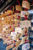 Japanese votive plaque(Ema) hanging in Kiyomizu temple. — Stock Photo