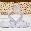 Two swans heart shaped made from towels. — Stock Photo #72206355