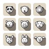 Animal face icons — Stock Vector
