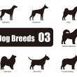 ������, ������: Dog breeds standing on the ground side silhouette vector