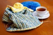 Cup of tea and knitting  — Foto Stock