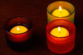 Glass candlesticks. Selective focus on the right candle — Stock Photo