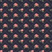 Seamless vintage flower pattern on navy background — Stock Vector