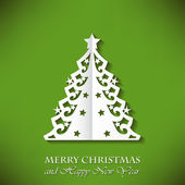 Nice Christmas tree (cut paper) on Green Background — Stock Vector