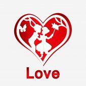 恋のカップルと赤いハート — ストックベクタ