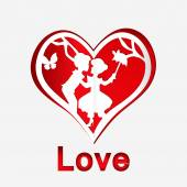Red heart with couple in love — Stock Vector