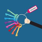 Hand holding bunch of success factor keys — Stock Vector