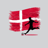 Soccer Player action with Kingdom of Denmark flag on background — Stock Vector