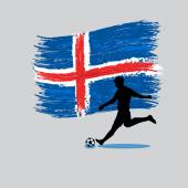 Soccer Player action with Iceland flag on background — Stock Vector