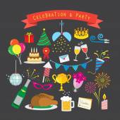 Celebration and party icon set — Stock Vector