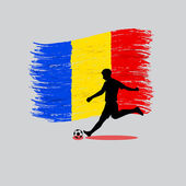 Soccer Player action with Romania flag on background — Stock Vector