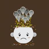 Broken lightbulb plant in sadly pot — Stock Vector