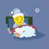 Insomnia man with sleeping sheep — Stock Vector