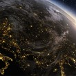 Planet earth Europe zone with night time and sunrise — Stock Photo #75311381