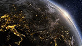Planet earth Europe zone with night time and sunrise — Stock Photo