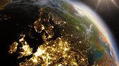 Zone de la Terre Europe de planète grâce aux images satellite Nasa — Photo