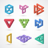 Colorful impossible shapes. Vector elements — Stock Vector