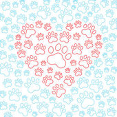Heart with dog or cat paws background. Vector — Stock Vector