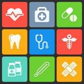 针对 web 和移动的彩色医疗图标。矢量 — 图库矢量图片