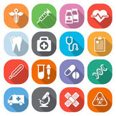 Trendy flat medical icons with shadow. Vector — Stockvektor