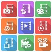 Trendy flat film icon pack. Vector — Stock Vector