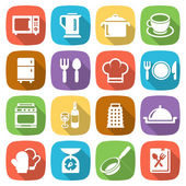 Trendy flat kitchen and cooking icons. Vector — Stock Vector