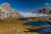 Mountain Lakes with Dolomite Range-Tre Cime,Italy — Stock Photo