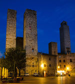 Ancient Towers in Night-San Gimignano, Italy — Foto Stock