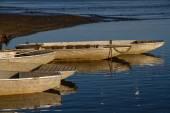 Fishing boats at Rozmberk pond-Czech republic — Stock Photo