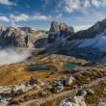 Monte Paterno with Blue Lakes-Tre Cime,Dolomites — Stock Photo #63311553