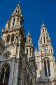 Vienna Townhall (Rathaus) towers-Vienna, Austria — Stock Photo