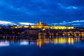 Prague Castle and Charles Bridge-Prague,Czech Rep. — 图库照片