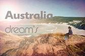 Summer dreams woman beach vintage retro — Stockfoto