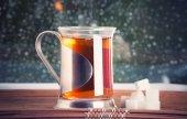 Tasse à thé, porte-gobelet et sucre — Photo