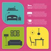 Info graphic of house interior vector banners — Stock Vector