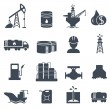 Set of oil and gas grey icons Petroleum industry — Stock Vector #54747903