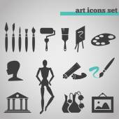 Icons set of art supplies for painting — Stock Vector