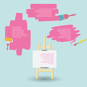 Space for your text design Paint brushes and easel — Vector de stock