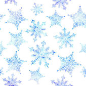 Watercolor snowflakes seamless pattern — Stock Photo