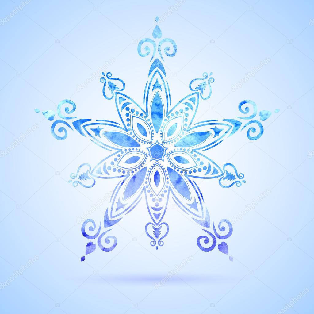 Нарисованные узоры на снежинках