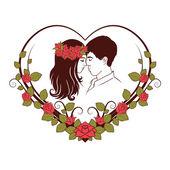 爱夫妇的侧面影像 — 图库矢量图片