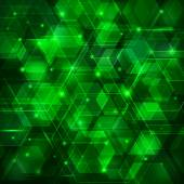 Green abstract techno background with hexagons and glowing sparks — Stockvektor