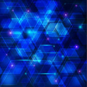 Blue abstract techno background with hexagons and glowing — Stockvektor