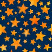 Orange watercolor painted stars on blue background vector seamless pattern — Stock Vector