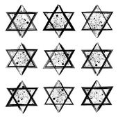 Vector collection of the stars of David created in grunge style. Elements for your design. — Stock Vector