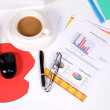Top view of white office desk. — Stock Photo #67145235