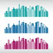 Colorful city illustrations — Vector de stock