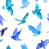 Watercolor seamless pattern with birds — Stockvektor