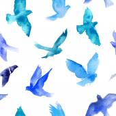 Watercolor seamless pattern with birds — Stockvector