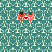 Seamless pattern with fox and wolf — Stock Vector
